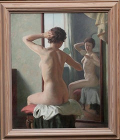 Nude Woman with Mirror - British 40's St Ives School art portrait oil painting