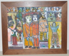 Frank Koci (1904-1983) Abstract w/ Colorful Figures & Faces Oil Painting c.1950
