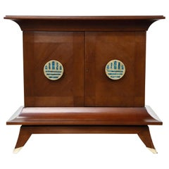 Frank Kyle and Pepe Mendoza Brass and Malachite 'Pagoda' Cabinet, 1950s, Signed