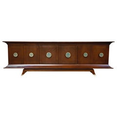 Frank Kyle and Pepe Mendoza Brass and Malachite 'Pagoda' Credenza, circa 1950s