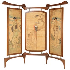 Frank Kyle Extraordinary 3-Panel Screen with Japanese Motif, 1950s