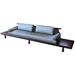 Frank Kyle Fabulous Floating Mahogany Sofa Attached Side Tables, Mexico, 1950s