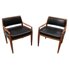 Frank Kyle Mexican MCM Pair of Mahogany and Brown Leather Armchairs