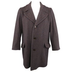 FRANK LEDER Size M Navy & Brown Heather Wool Notch Lapel Oversized Coat