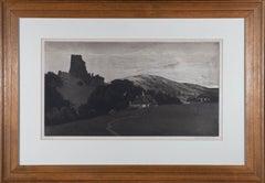 Frank Lewis Emanuel (1866-1948) - Signed 1928 Aquatint, Corfe Castle