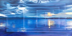 CALM Signed Lithograph, Blue Water Sunset, Abstract Seascape