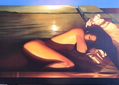 SPELLBOUND, Signed Lithograph, Reclining Nude Woman, Golden Sunset, Erotic Art