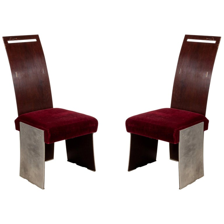 Frank Lloyd Wright American Mahogany Dining Chairs For Sale