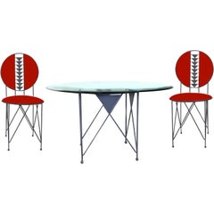 Frank Lloyd Wright Cassina Midway 2 & 3 Enameled Steel Dining Set Gray Red Round