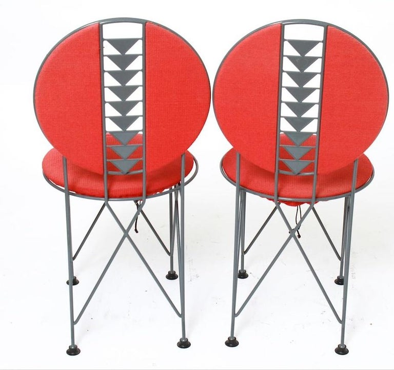 Mission Frank Lloyd Wright Cassina Midway Steel Dining Set for 6 1914 / 1986 Red & Gray For Sale