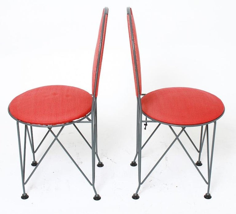 Italian Frank Lloyd Wright Cassina Midway Steel Dining Set for 6 1914 / 1986 Red & Gray For Sale