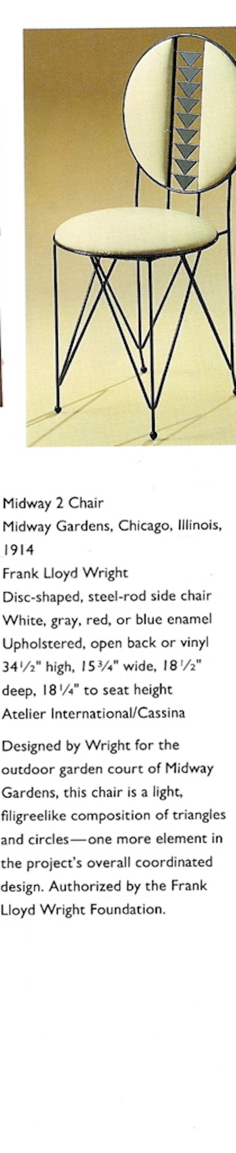Frank Lloyd Wright Cassina Midway Steel Dining Set for 6 1914 / 1986 Red & Gray For Sale 2