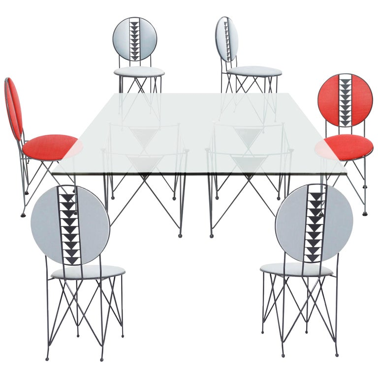 Frank Lloyd Wright Cassina Midway Steel Dining Set for 6 1914 / 1986 Red & Gray For Sale