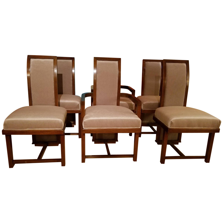 Frank Lloyd Wright Dining Chairs Set of Six Taliesin for Heritage Henredon, 1955
