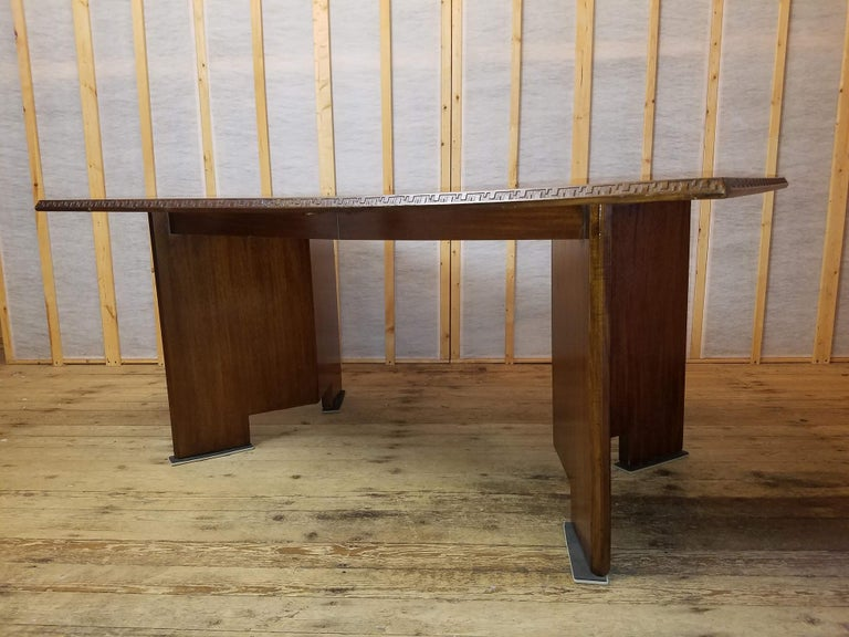 Mid-Century Modern Frank Lloyd Wright Extension Mahogany Dining Table Heritage Henredon, 1955 For Sale