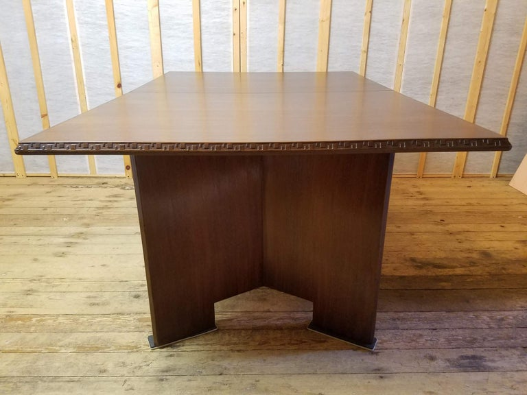 American Frank Lloyd Wright Extension Mahogany Dining Table Heritage Henredon, 1955 For Sale