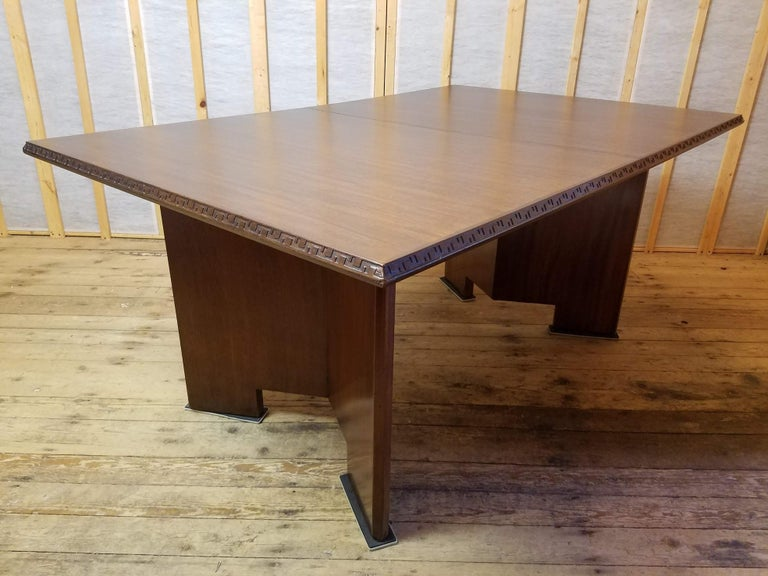 Lacquered Frank Lloyd Wright Extension Mahogany Dining Table Heritage Henredon, 1955 For Sale