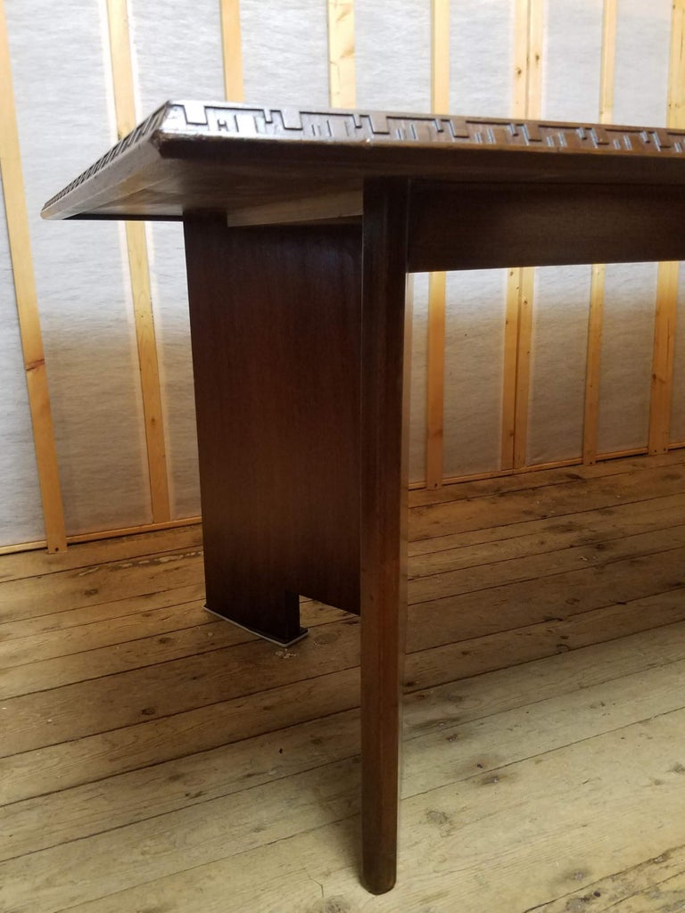 Frank Lloyd Wright Extension Mahogany Dining Table Heritage Henredon, 1955 For Sale 1