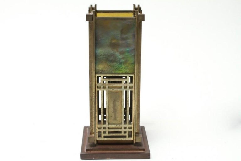Frank Lloyd Wright Favrille stained glass 'S2300' Yamagiwa brass table lamp lantern 1994 (also known as the