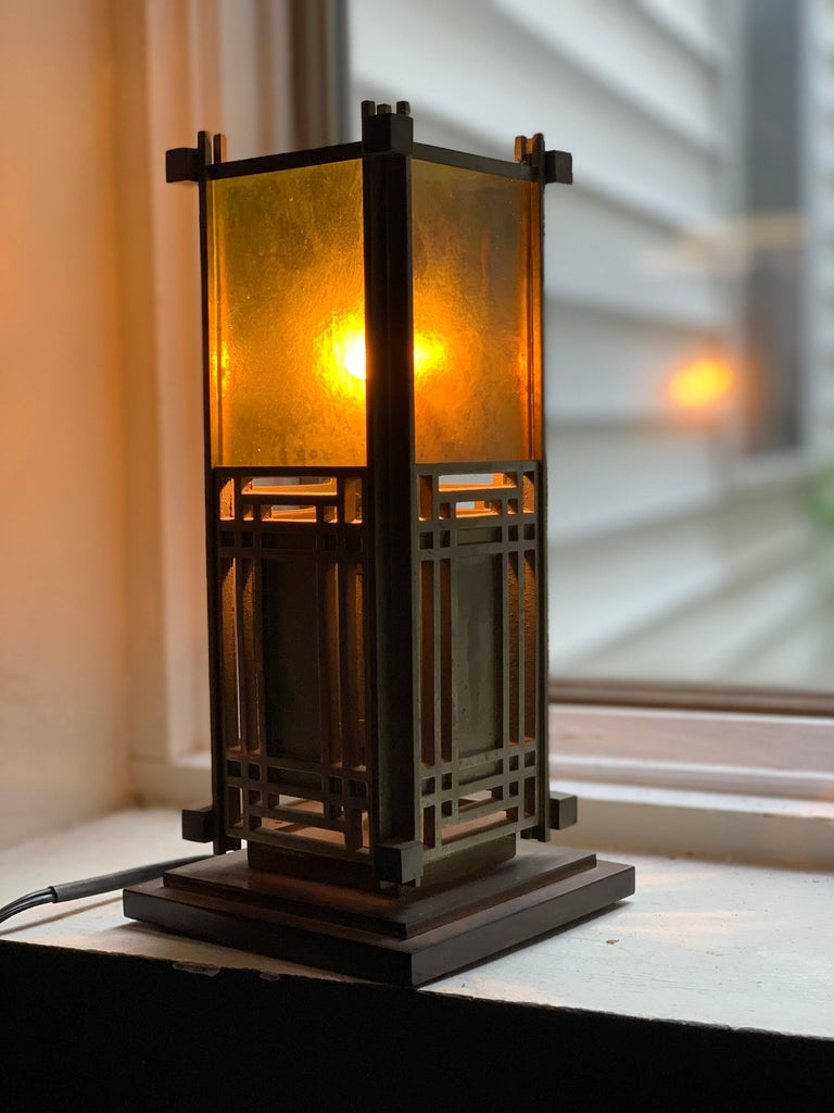 20th Century Frank Lloyd Wright Favrile Stained Glass S2300 Yamagiwa Table Lamp Lantern, 1994 For Sale