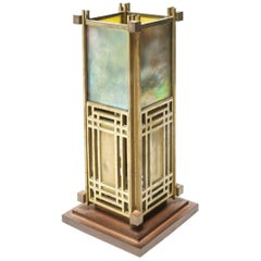 Frank Lloyd Wright Favrile Stained Glass S2300 Yamagiwa Table Lamp Lantern, 1994