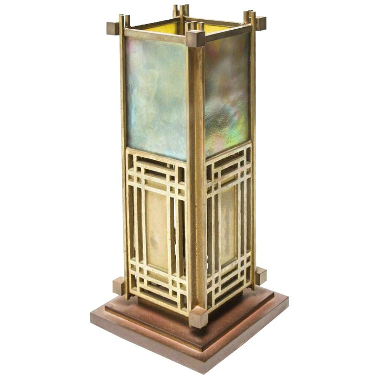 Frank Lloyd Wright Favrile Stained Glass S2300 Yamagiwa Table Lamp Lantern, 1994 For Sale