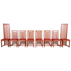 Frank Lloyd Wright for Cassina Arts & Crafts Dining Chairs, Set of Eight