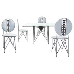 Frank Lloyd Wright for Cassina Midway 2 and 3 Enameled Steel Dining Set Gray