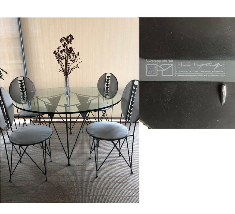 Frank Lloyd Wright for Cassina Midway 2 and 3 Enameled Steel Dining Set Gray In Good Condition For Sale In Brooklyn, NY