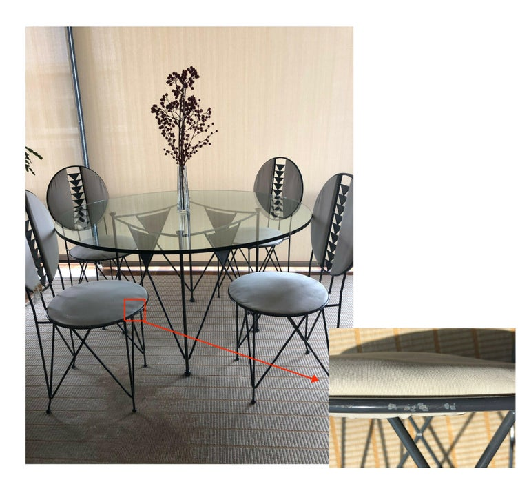 20th Century Frank Lloyd Wright for Cassina Midway 2 and 3 Enameled Steel Dining Set Gray For Sale
