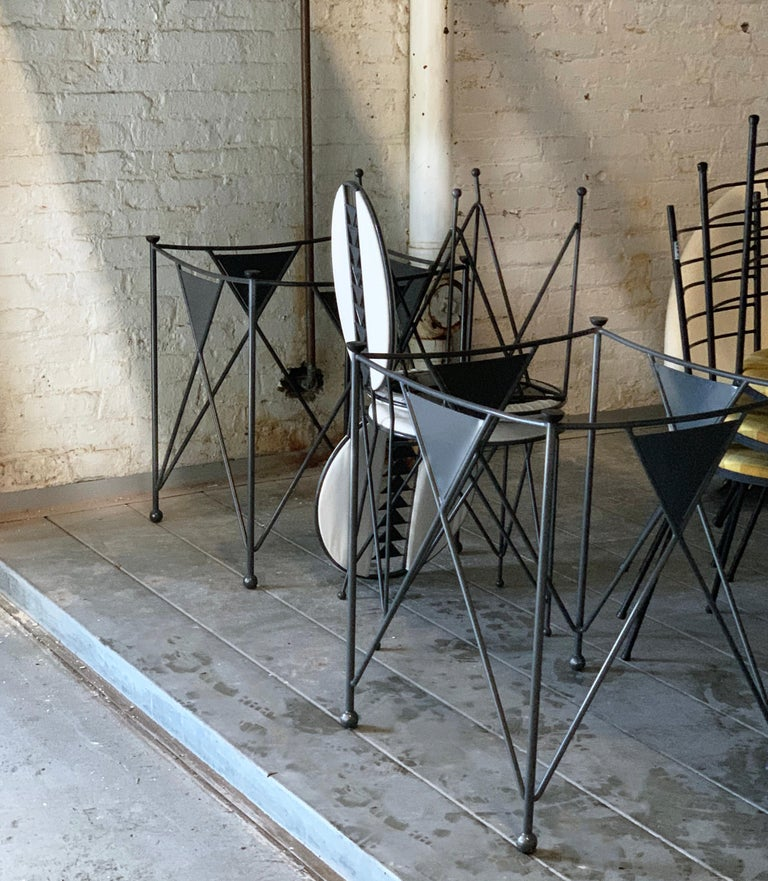 Italian Frank Lloyd Wright for Cassina Midway 2 and 3 Enameled Steel Dining Set Gray For Sale