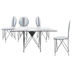 Frank Lloyd Wright for Cassina Midway 2 & 3 Enameled Steel Dining Set Gray