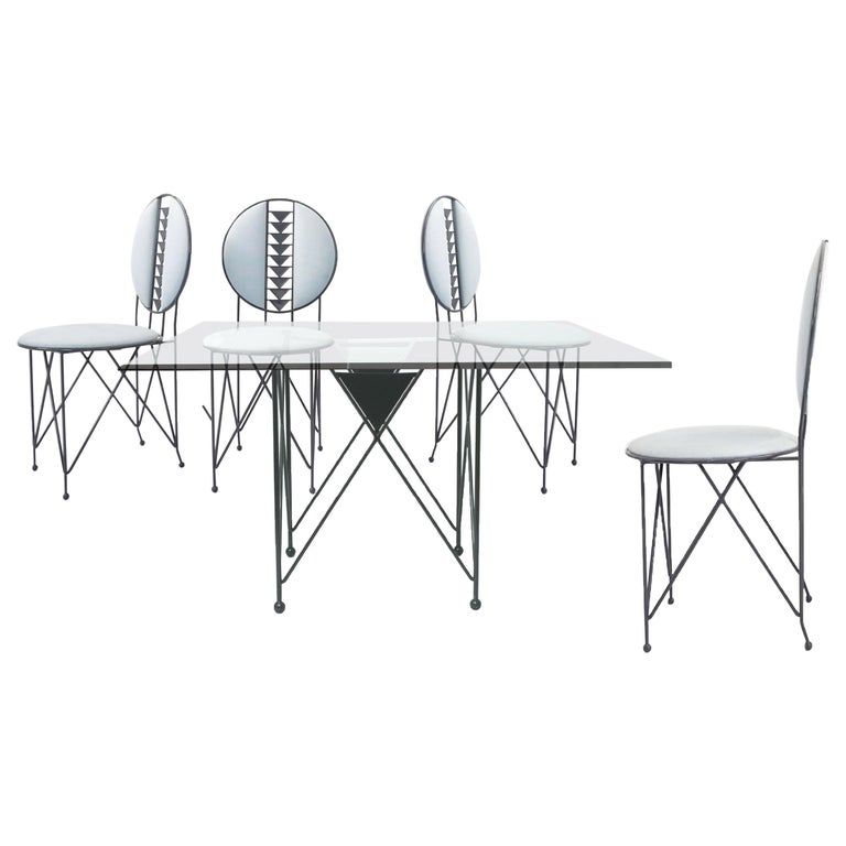 Frank Lloyd Wright for Cassina Midway 2 and 3 Enameled Steel Dining Set Gray For Sale