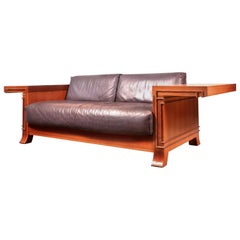 Frank Lloyd Wright for Cassina Robie 3-Leather Two-Seat Sofa, Cherrywood, Signed
