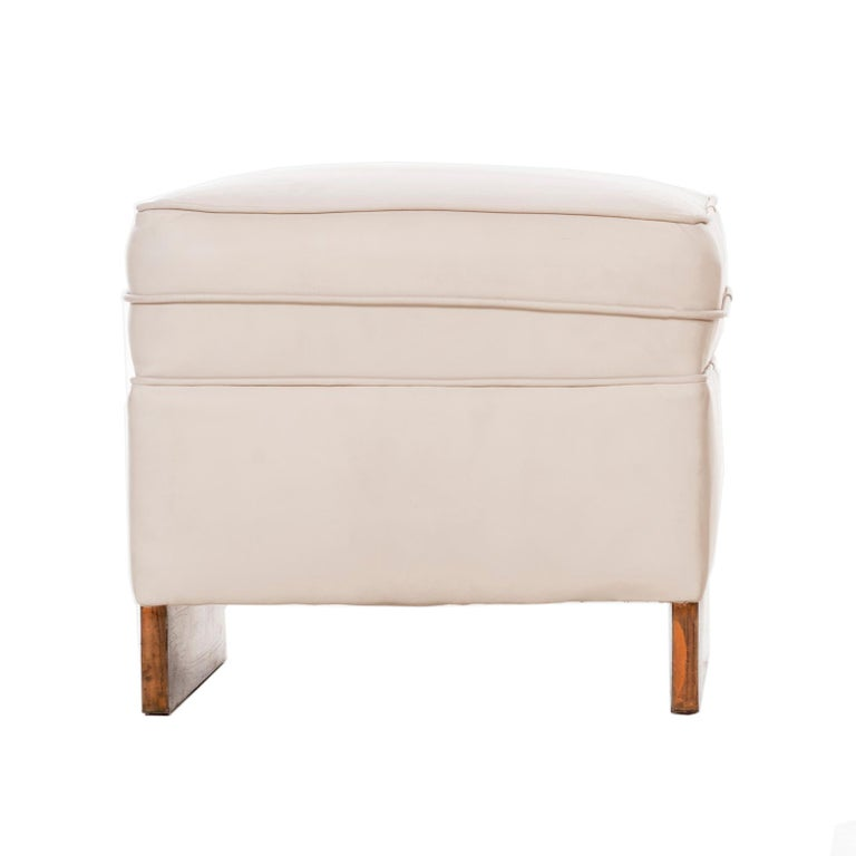 Frank Lloyd Wright, stools from price tower, Bartlesville, Oklahoma USA, 1956 original historic condition. Upholstery, copper, leather Measures: 18 W × 16 D × 16½ H in (white leather) 22 W × 19 D × 15½ H in (fabric).