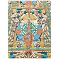 Frank Lloyd Wright for Schumacher, Imperial Peacock Textile Set, Curtain & Duvet