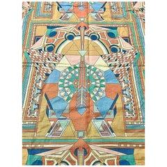 Frank Lloyd Wright for Schumacher, Imperial Peacock Textile Set, Curtain & Duvet