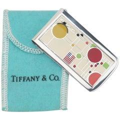 Frank Lloyd Wright For Tiffany & Co. Sterling Silver Enamel Money Clip