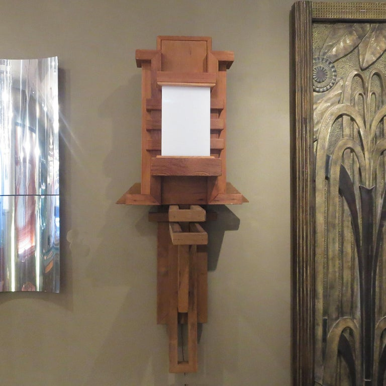 Arts and Crafts Frank Lloyd Wright Inspired Wall Lamp For Sale