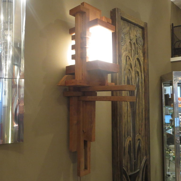 Frank Lloyd Wright Inspired Wall Lamp For Sale 1