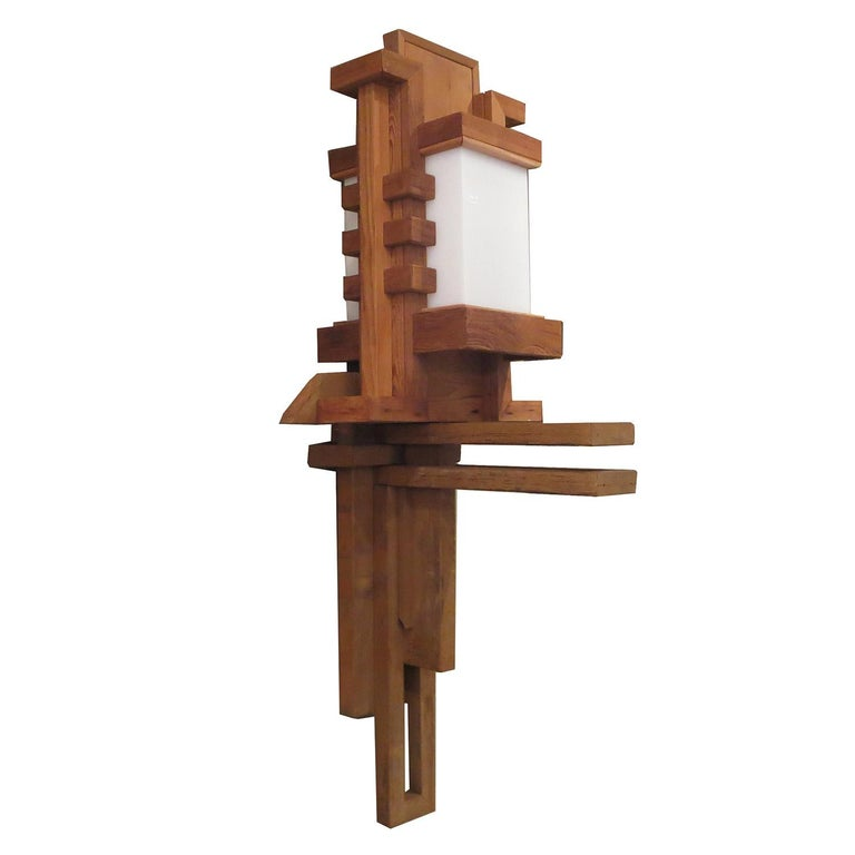 Frank Lloyd Wright Inspired Wall Lamp For Sale