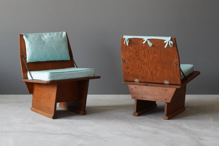 Mid-Century Modern Frank Lloyd Wright Lounge chairs, Unitarian Church, Plywood, Steel, Fabric, 1951 For Sale