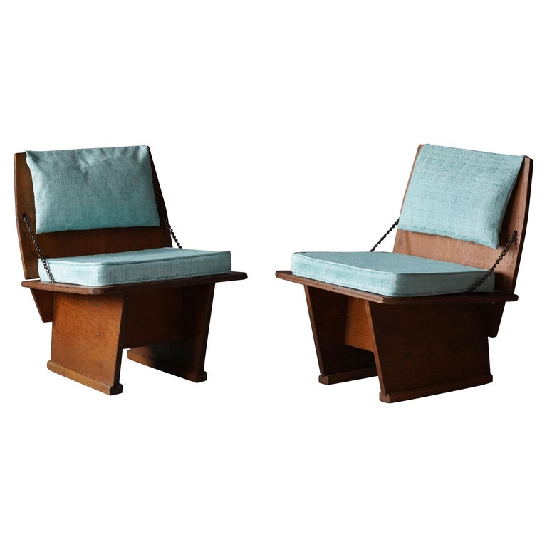Frank Lloyd Wright Lounge chairs, Unitarian Church, Plywood, Steel, Fabric, 1951 For Sale