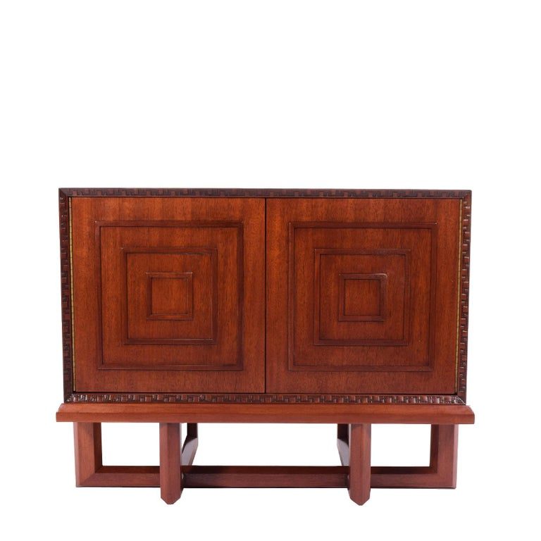 American Frank Lloyd Wright Mahogany Cabinet for Heritage Henredon For Sale