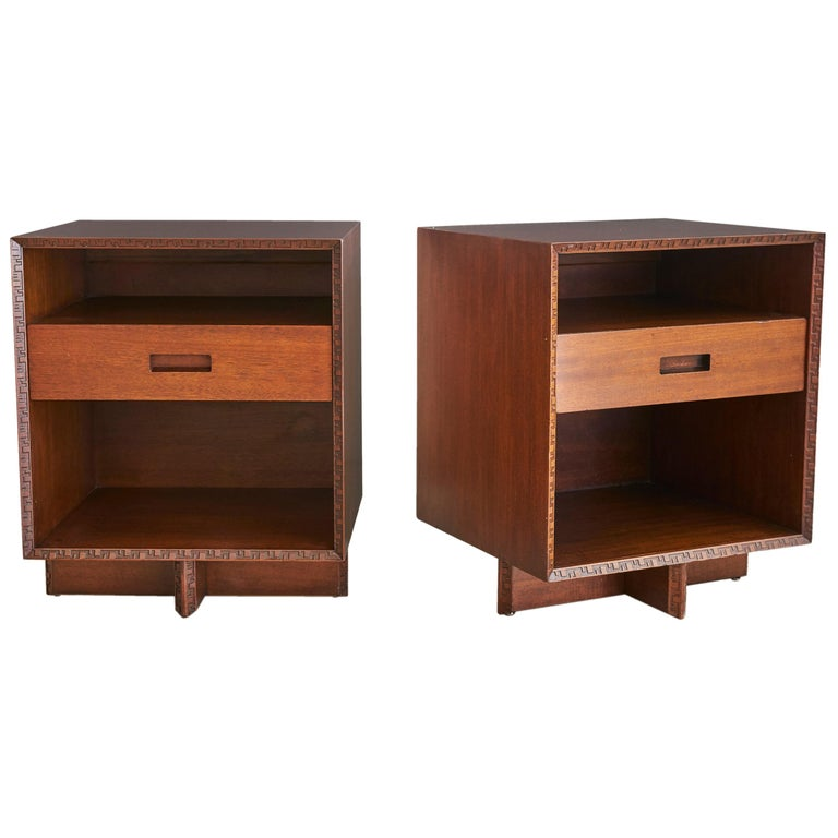 Frank Lloyd Wright for Henredon Nightstands 1