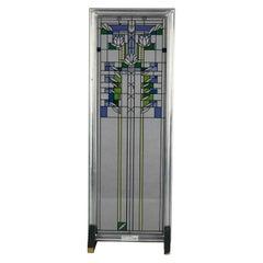 Frank Lloyd Wright Prairie School Enameled Glass Panel, 20th C
