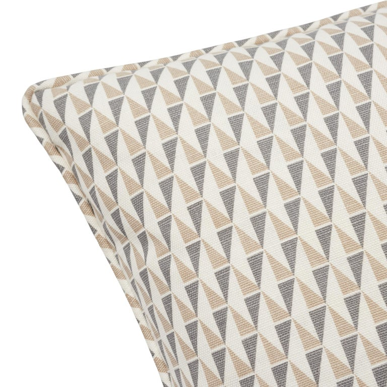 Mid-Century Modern Frank Lloyd Wright Schumacher Design 107 Grey Sand Two-Sided Linen Pillow For Sale