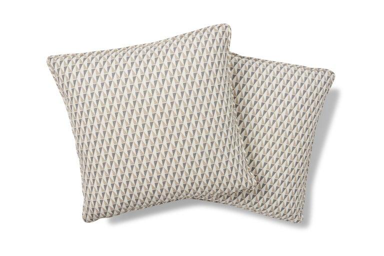 Belgian Frank Lloyd Wright Schumacher Design 107 Grey Sand Two-Sided Linen Pillow For Sale