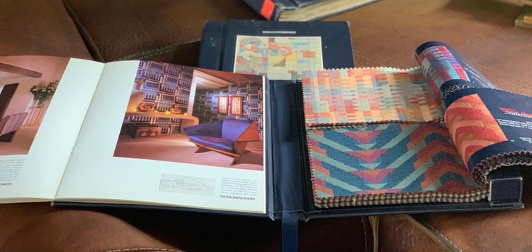 Frank Lloyd Wright interior design book box set, published by Schumacher, three books with patterns designed by Wright, two books bearing fabric swatches,