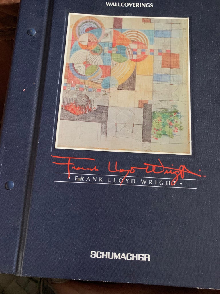 American Frank Lloyd Wright Schumacher Wallcovering Fabric Book Catalogue Reference Set For Sale